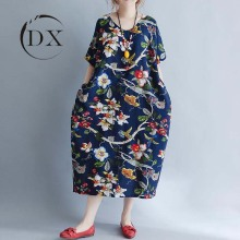 Plus Size Women Clothing Lady Floral Printed Cotton Linen Dress
