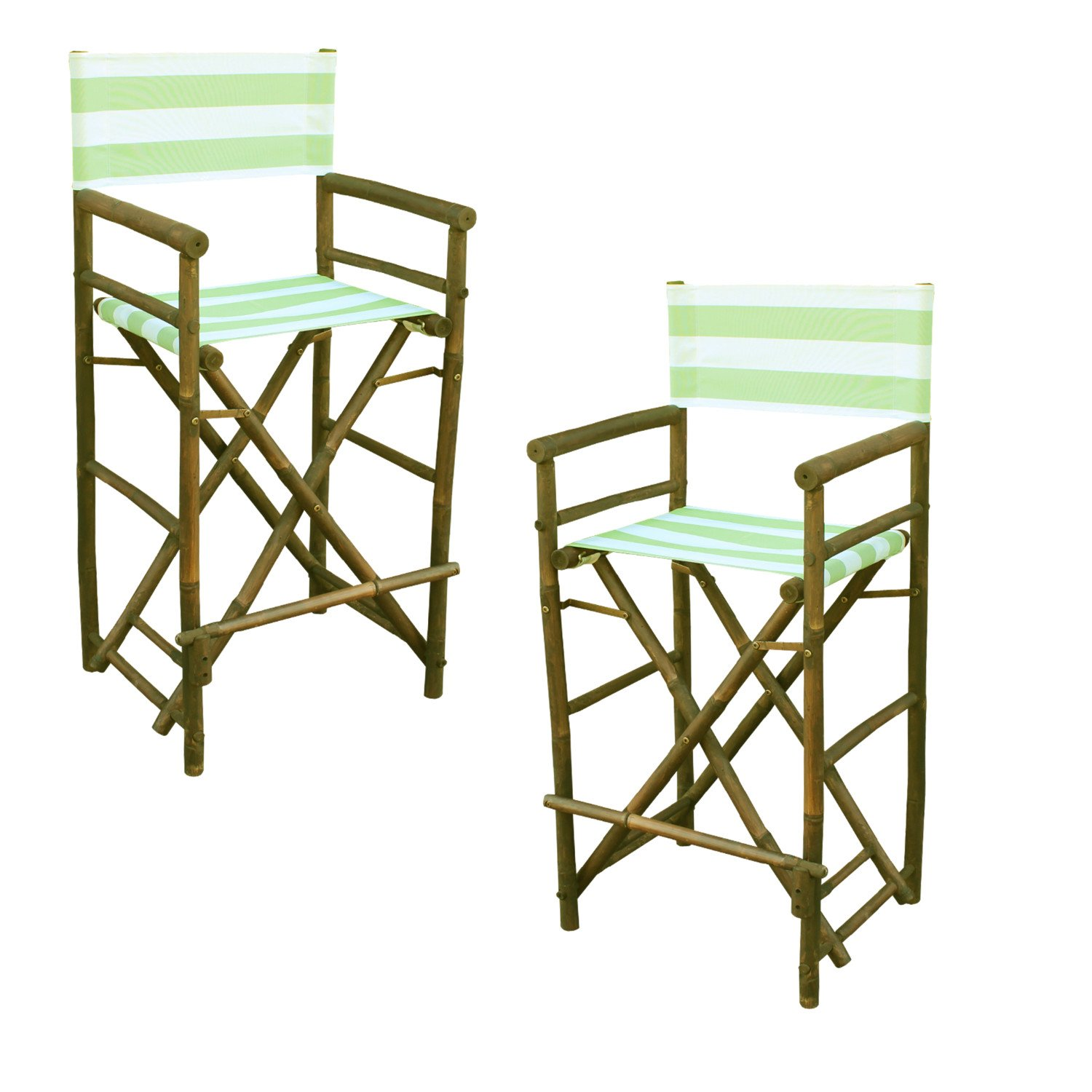 Zew Hand Crafted Tall Foldable Bamboo Director's Chair with Treated Canvas, Set of 2 Chairs, Espresso Finish, Striped Celadon
