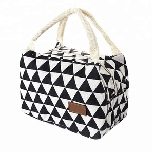Custom Wholesale Foldable Lunch Bag For Women Kids Men Fashion Canvas Box Tote Bags Thermal Cooler Food Canvas Lunch Bag