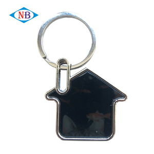 Wholesale cheap custom home shape blank metal keychains