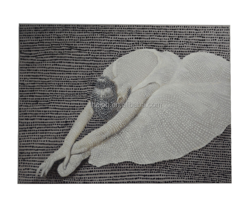 Handpainted oil painting ballet dancer with dots 80x60cm