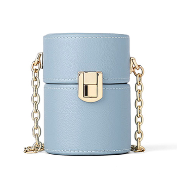 New product ladies blue round bucket long gold chain shoulder bag fashion custom PU leather women 's crossbody bag