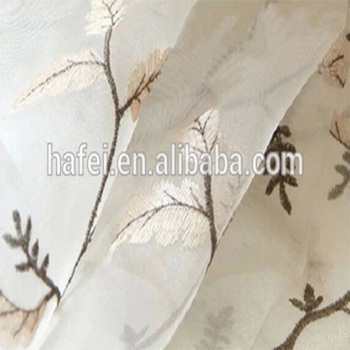 Hafei Lower Design Decoration Printed Living Room Voile Sheer Curtains Designed Embroidered Window Curtain