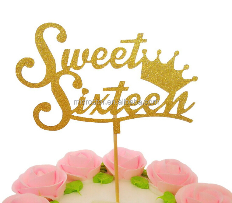 "FengRise Baby Shower Birthday Party Decoration Crown ""Sweet Sixteen"" Cupcake Topper"