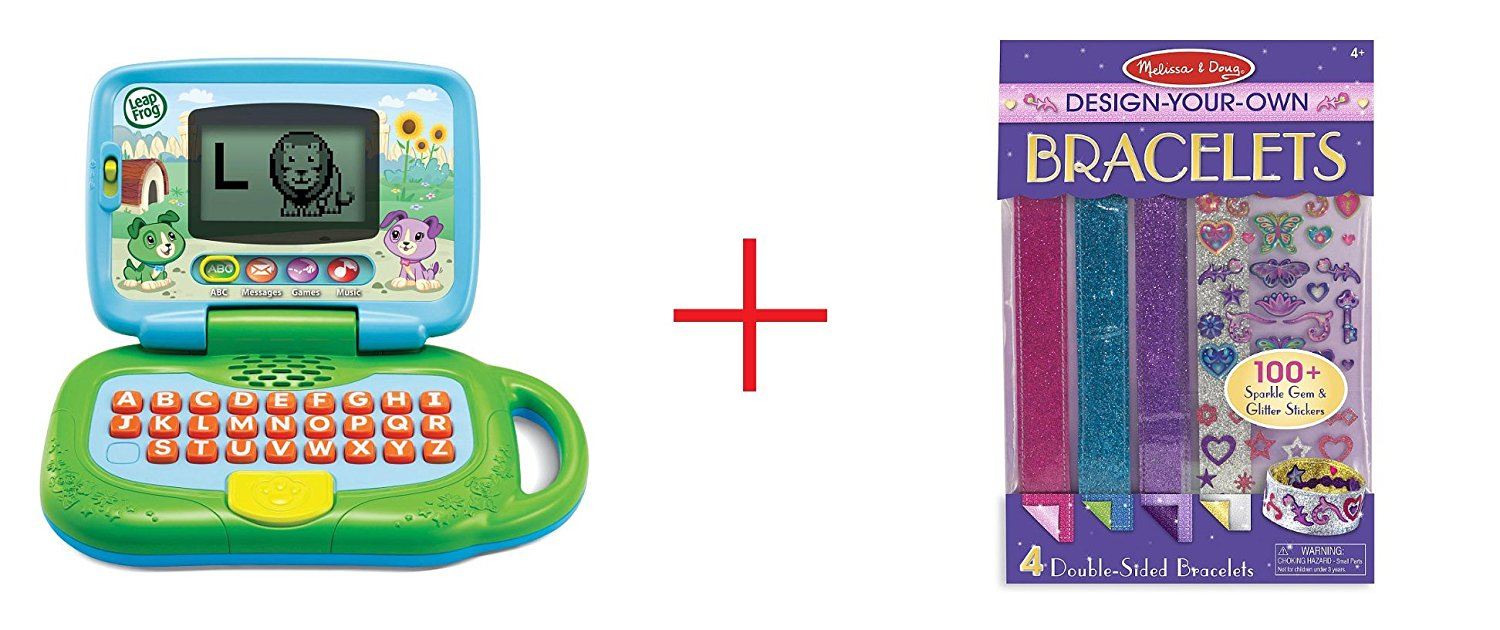 LeapFrog My Own LeapTop and Melissa & Doug Design-Your-Own Bracelets - Sticker Style Braclets - Bundle