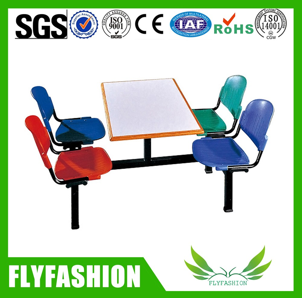 Used school canteen furniture 4 seats table and chair on sale