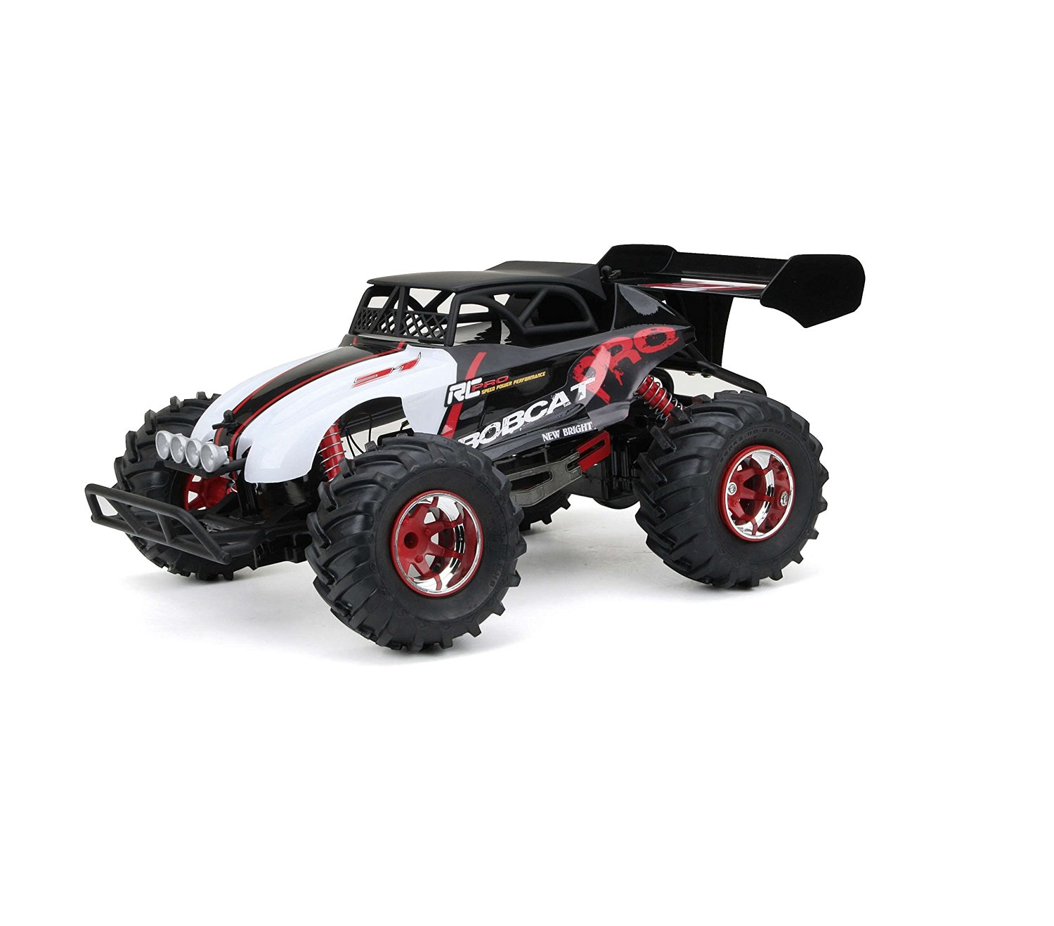 Rc Cars-Monster Trucks- New Bright Remote Control Full Function Pro Bobcat1:10 scale- Cars Toys--Left-right steering, forward-reverse drive Lightweight-R.C. Pro Line is all about speed, power and performance. With touch suspension, rugged terrain is no problem and a 12.8V lithium ion battery gives