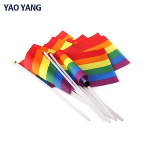 OEM Manufacturer LGBT Flag Custom Mini Rainbow Hand Flag