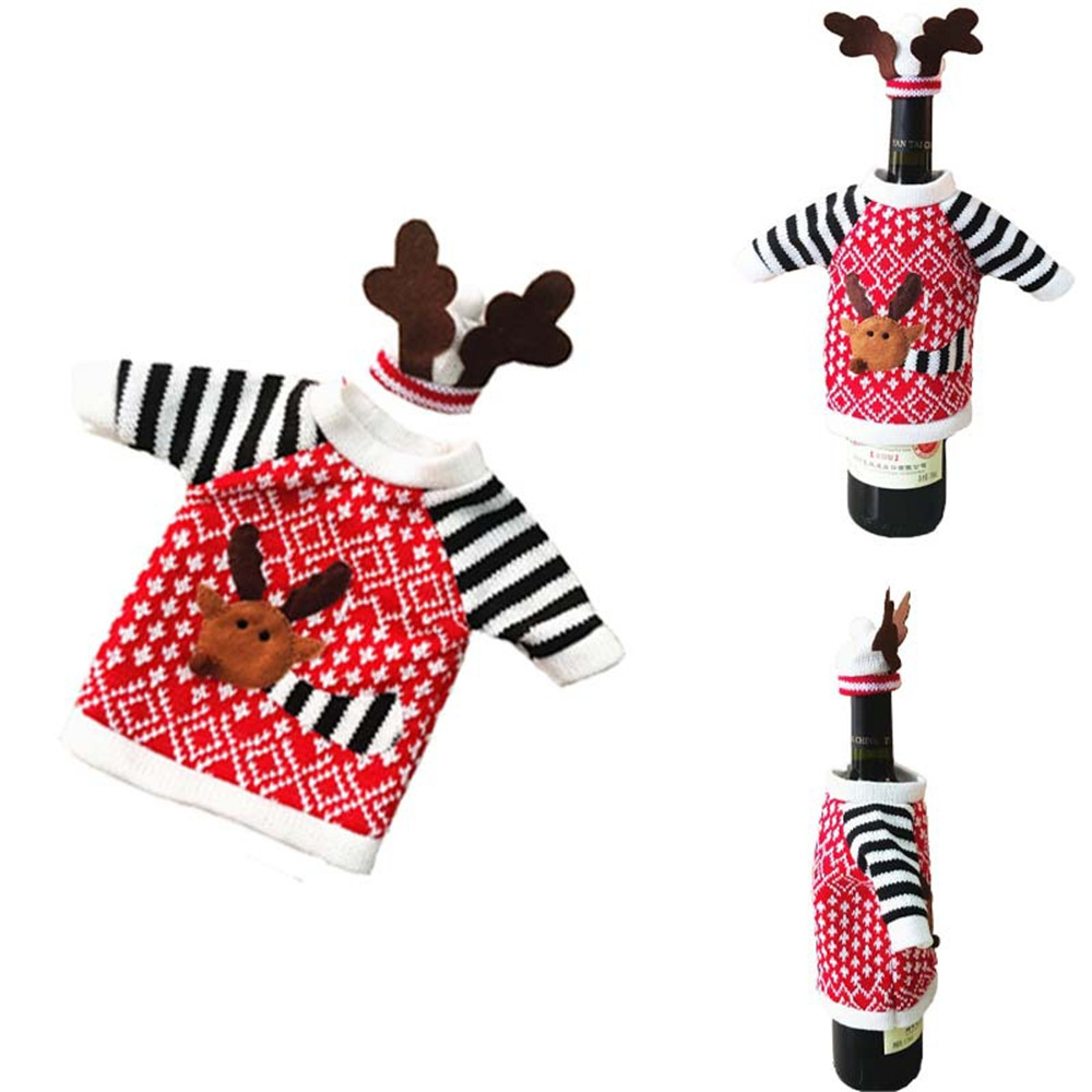 Popular Cute Christmas Elk Red Wine Bottle Cover For Christmas Party Ornamnet