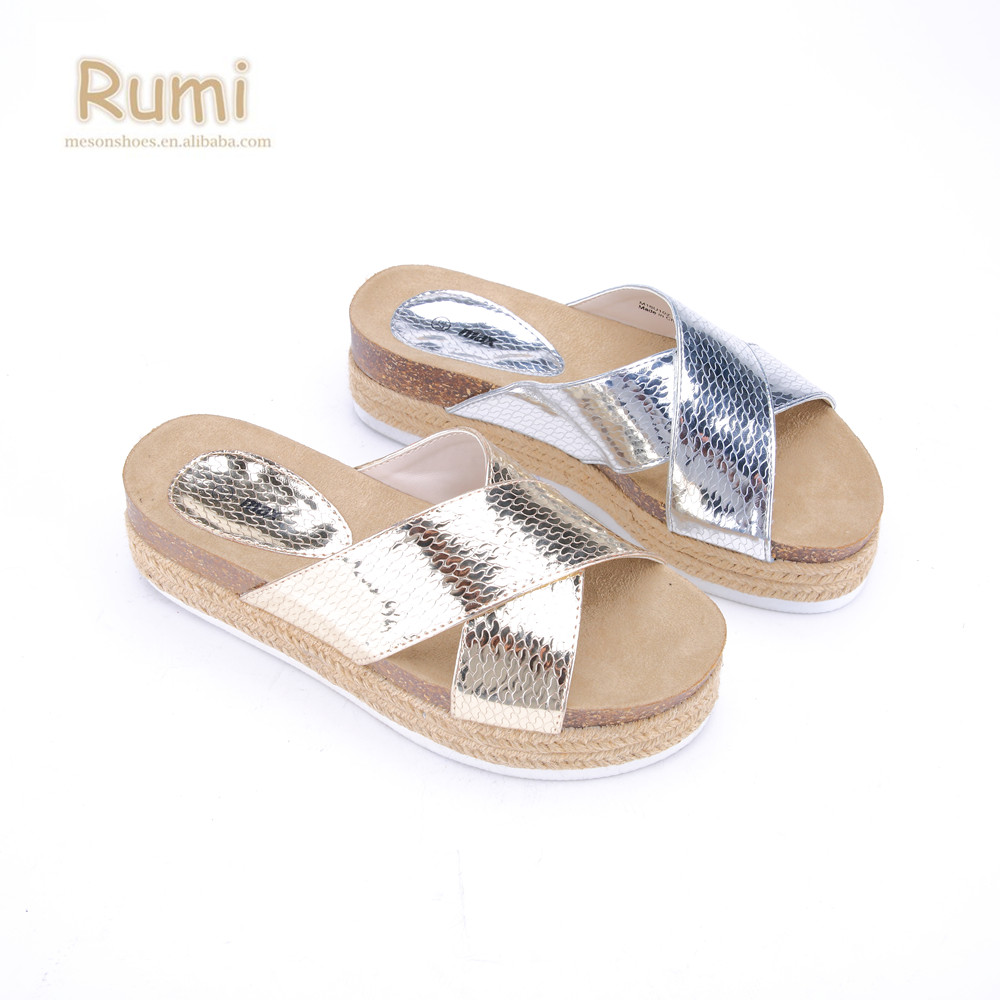 e1d5d7515f40 Fashion espadrille criss-cross striped ladies shoes mirror Snake Skin thick  platform cork slippers