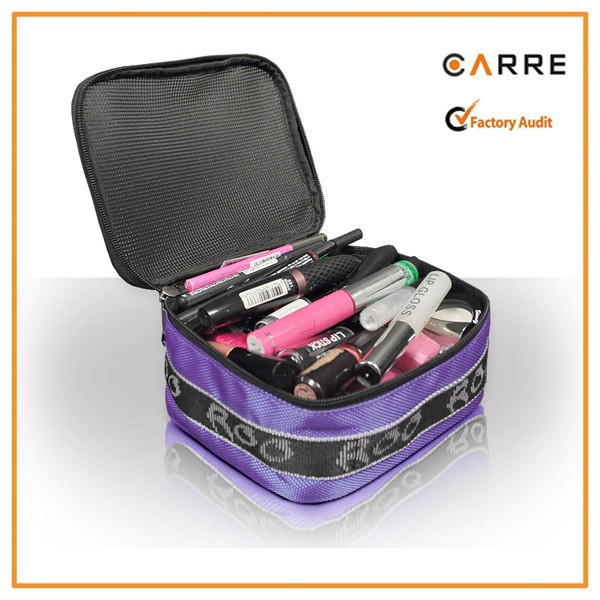 purple nails beauty makeup kits organizer cosmetic bag with mesh top window