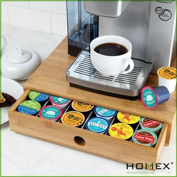 Bamboo Coffee Pod Holder Storage Box Homex Bsci