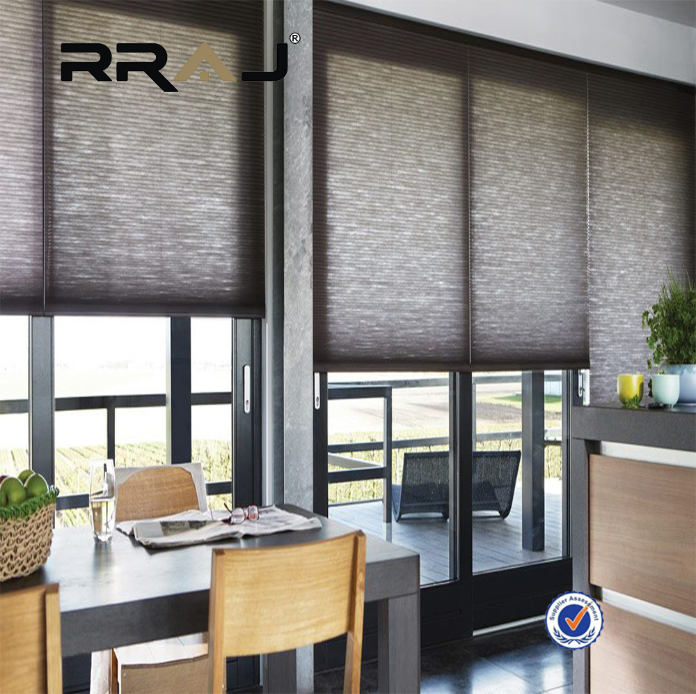 RRAJ pull down bottm up honeycomb blind single cell translucent fabric