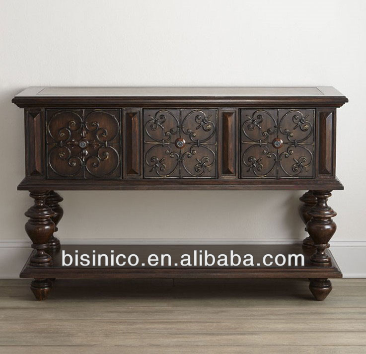 Classic Luxury Spanish Wooden Antique Finishing Dining Room Sideboard Console Table View Luxury Spanish Sideboard Console Table Bisini Product