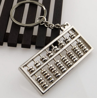 Chinese Style Accounting Special Purpose Tool Silvery 8 Rows Abacus Keychain