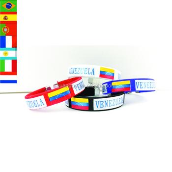A buon mercato Su Misura Tessuto Braccialetti Tessuto Bandiera del Paese  Venezuela Braccialetti Per Eventi Mking
