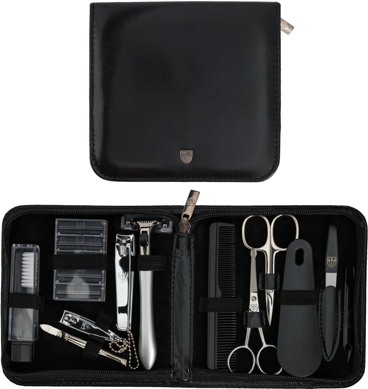 THREE SWORDS - Exclusive 12-Piece MANICURE - PEDICURE - GROOMING – NAIL CARE set / kit / case - basic-standard quality (633514)