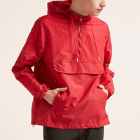 blank custom pullover windbreaker men's hooded side-zip anorak with front flap pocket