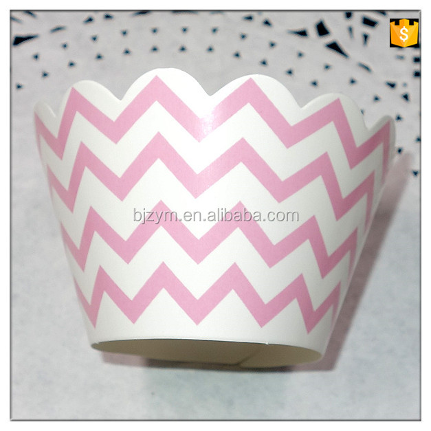 ripple pattern printing pink cake cup wraps paper Cupcake Wrapper wedding DIY home decorations supplies