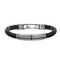 Wholesale High Quality Leather 925 Sterling Silver Bracelet Bangle