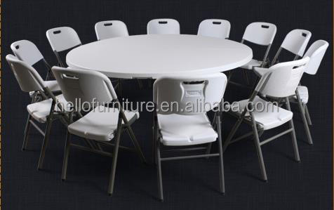 183cm double folding plastic round outdoor furniture