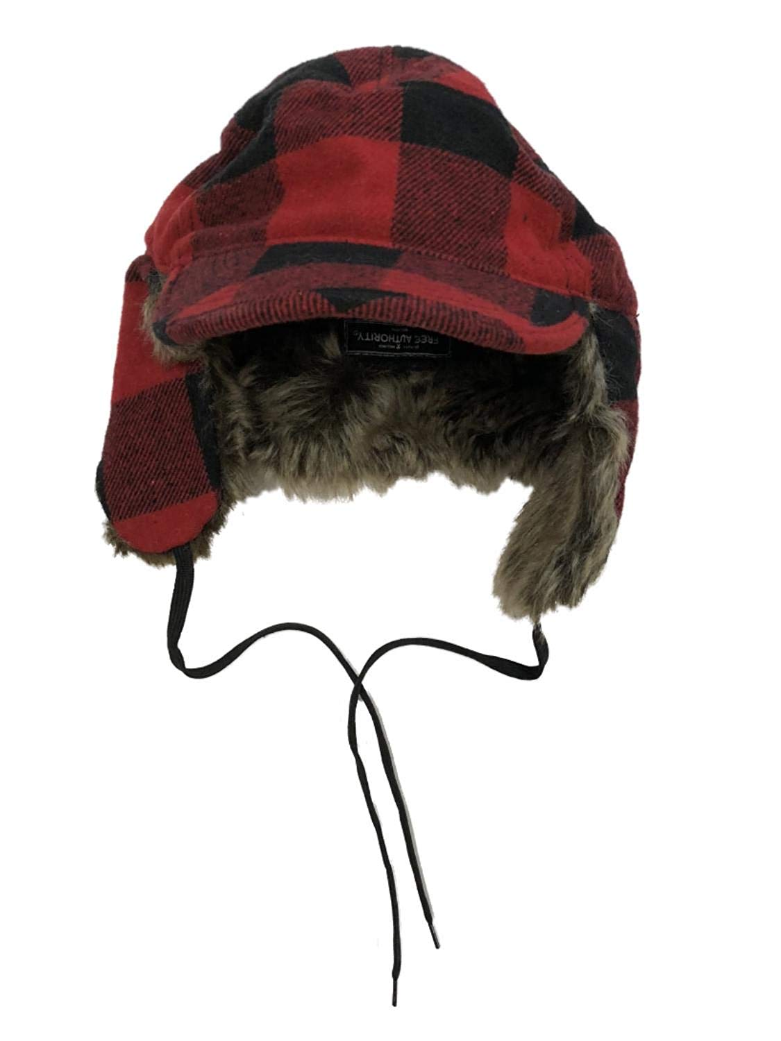 3d3860edbb39e7 Get Quotations · Free Authority Mens Red Buffalo Plaid Rimmed Baseball Cap  Style Trapper Hat