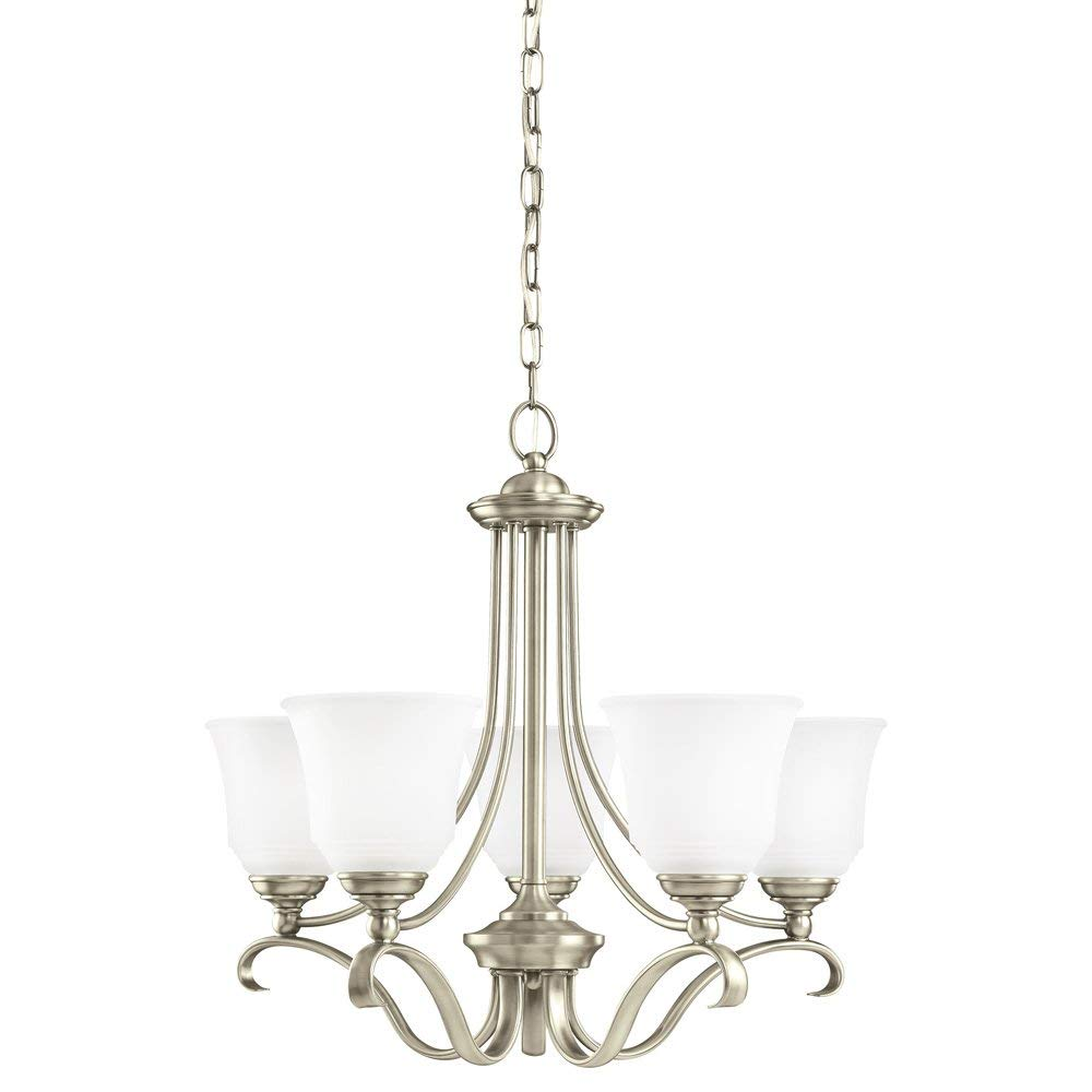 Sea Gull Lighting 31380-965 Parkview Five-Light Chandelier with Satin Etched Glass Shades, Antique Brushed Nickel Finish