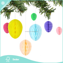 Hotsale Wholesale Sunbeauty Honeycomb Easter Egg Garland KIt for Easter Spring Festival Hanging Decorations