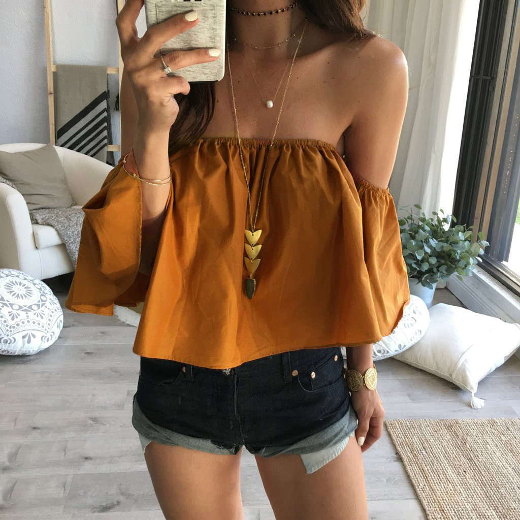 9bb7940ed41709 2019 Wholesale Feitong Off Shoulder Top Blouse Cropped For Women'S ...