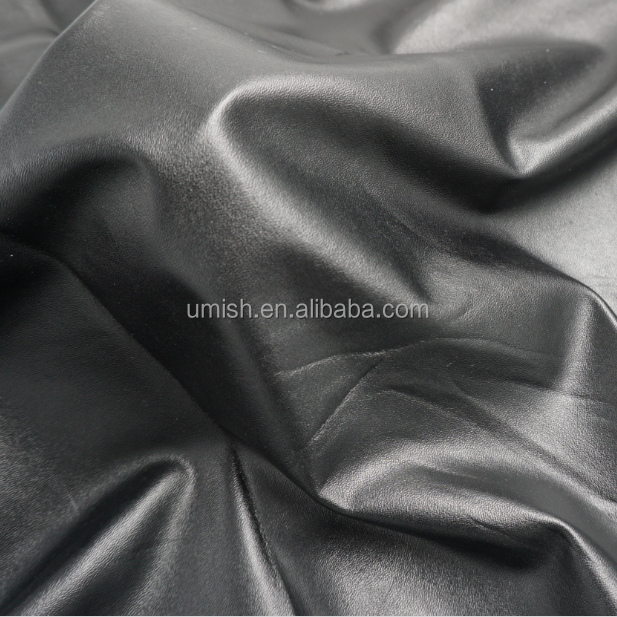 SOFT SHINY BLACK ELASTIC PU LEATHER FOR PANTS