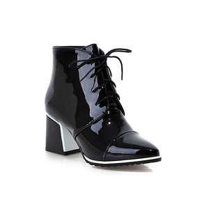 Winter fashion black sexy rubber patent leather pointed toe ladies high heel ankle boots