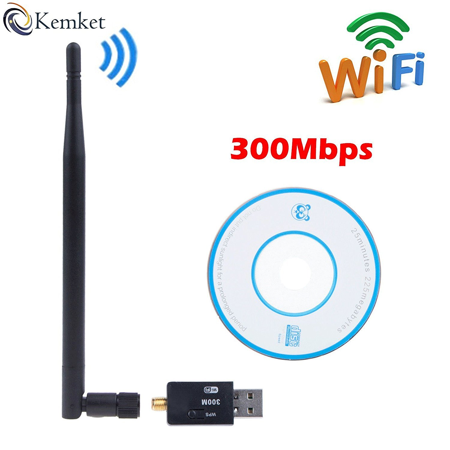 Kemket WiFi USB Adapter- 300 mbps, 150mbps with antenna / Wireless LAN / USB 2.0 Adaptor / Mini Dongle 802.IIN / SMA connection / works with PC + MAC | for Win 10 / Win 8 / Win 7 / OSx (300 Mbps)