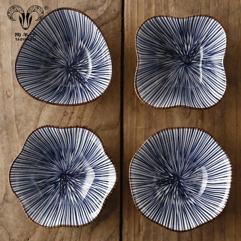 Керамическая фарфоровая тарелка в японском стиле с печатью