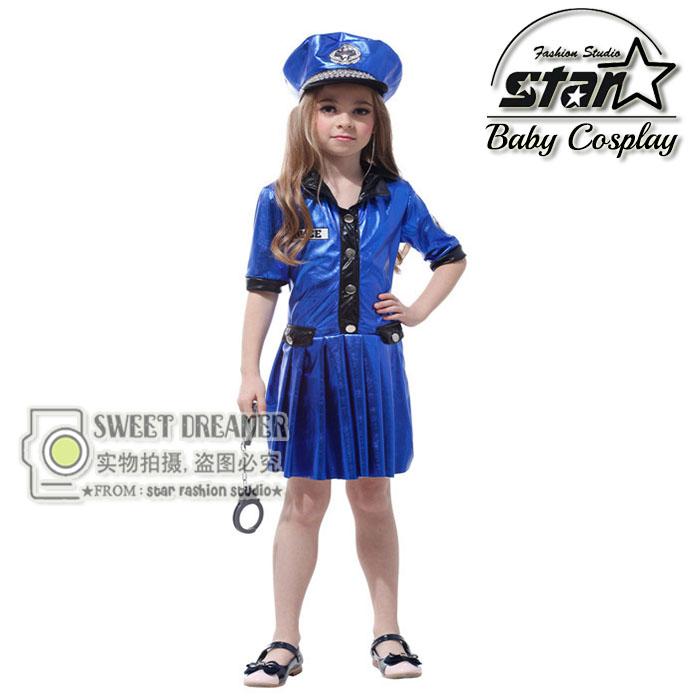 Kids Police Costume Policewoman font b Dress b font For Girls Fantasia Infantil Halloween font b