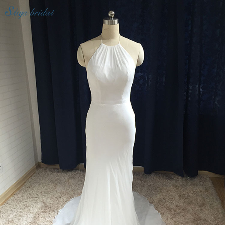 New phong cách halter neck backless ren wedding dress bridal gown mermaid