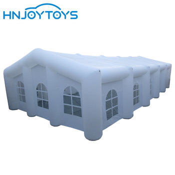Outdoor white large inflatable tent with RGB lights and sidewalls removable for wedding party or concert