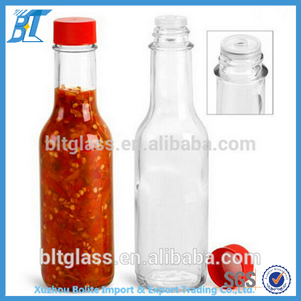 180ml Wholesale Glass Bottle Tabasco Hot Chilli glass sauce bottles hot sauce bottles with plastic screw lid