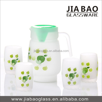Green Apple Printed And Frosted Glass Jug Set,Cheap Glassware ...