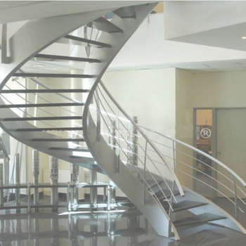 Stainless Steel Balustrade Glass Curved Staircase