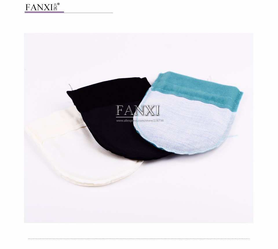 FANXI New Custom Small Pouch with Silk Ribbon Drawstring Jewelry Accessories Ring Necklace Gift Packing Bag Velvet Jewelry Pouch