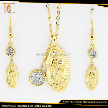 hot sale christian virgin mary stainless steel jewelry set for unisex
