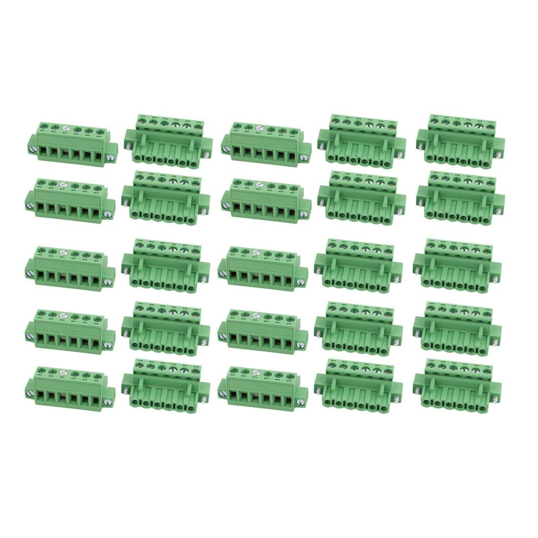 uxcell 25 Pcs LC1M AC300V 15A 5.0mm Pitch 6P PCB Mount Terminal Block Wire Connector