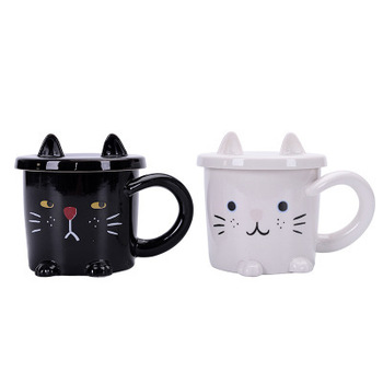 China Cup Black White Loves Cat Mugs