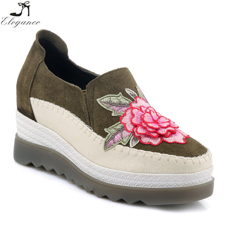 Spring Slip Chinese Women Shoes Unique Black Espadrilles Casual Platform Loafers Embroidered Style Woman On Wedge Leather Flats Ezzq1w