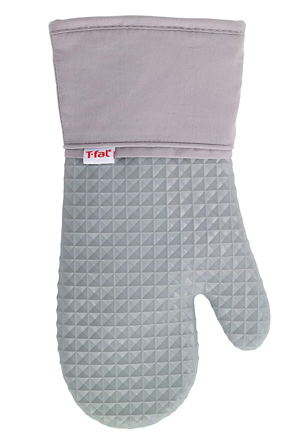 T-fal Textiles Silicone Waffle Softflex Non-Slip Grip 100% Cotton Twill Heat Resistant Oven Mitt, 13-inches x 7-inches, Grey