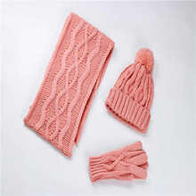 Knitted Jacquard Warm Kid's Winter Hat Glove Scarf Set