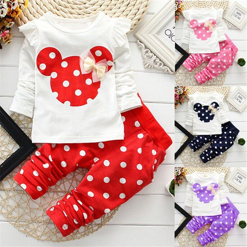 8c06c0de2d3de Minnie bébé fille vêtements 2016 T-shirt + pantalon 2 pcs bébé fille  vêtements à