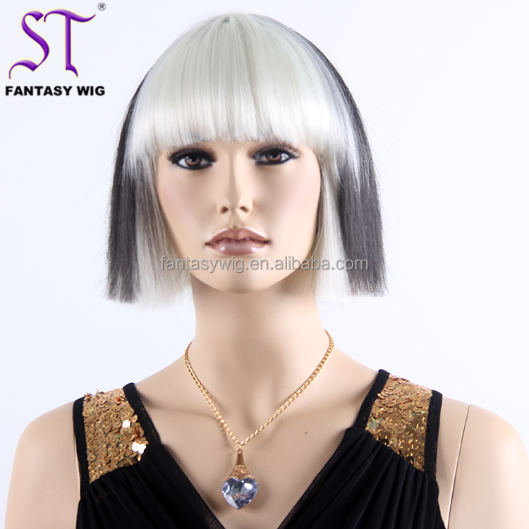Short Straight Synthetic Wig Wholesale Personality White Mixed Black Hair With Bang Cosplay Wigs