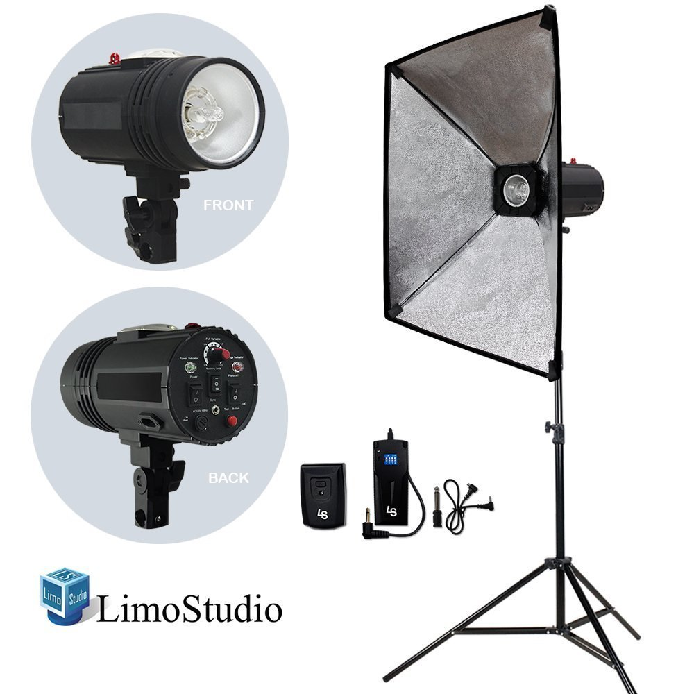 LimoStudio Flash Strobe Lighting Kit, Flash Light, Softbox with Diffuser, Light Stand Tripod, Softbox Connector, Radio Sync Transmitter & Receiver, Photo Studio, AGG1994