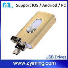 Zyiming usb flash drives OEM customized logo 3 in 1 32/64gb otg for iphone/ipad china express